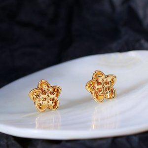 Tory Burch Delicate Hollow Flower Logo Earrings